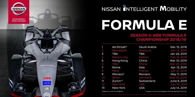 Nissan будет участвовать в гонках в 12 городах по всему миру в пятом сезоне Формулы Е