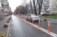 В Киеве начали физически разделять дорожное движение