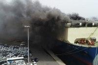 На корабле сгорело более 1000 б/у автомобилей