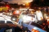 50 машин столкнулись в Киеве. Фото