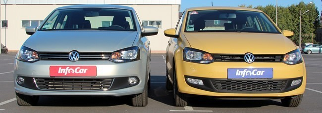 Модели VW Polo седан (слева) и Polo хетчбек (справа) в анфас легко спутать
