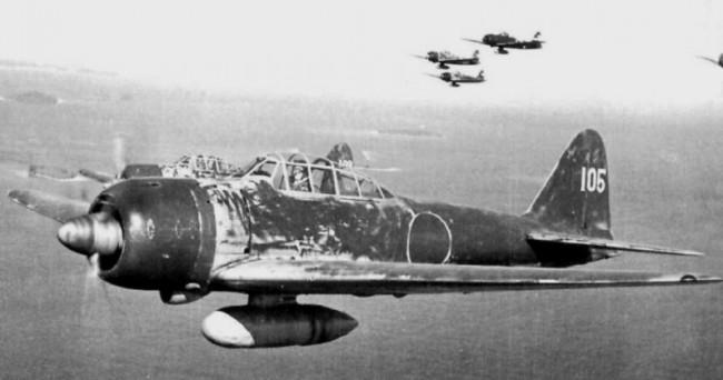 Палубный истребитель времен Второй Мировой войны Mitsubishi A6M Zero