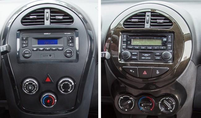 Слева центральная консоль в исполнении Basic, справа - Comfort