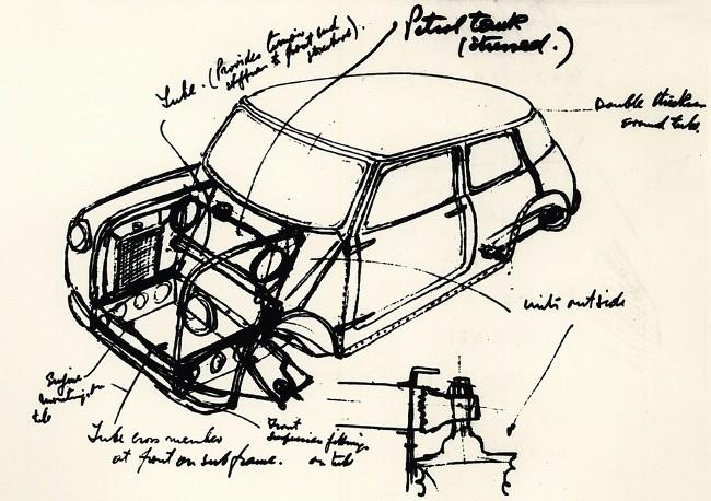 Один из набросков Mini, сделанных Алеком Иссигонисом в поисках решения поставленной перед ним задачи