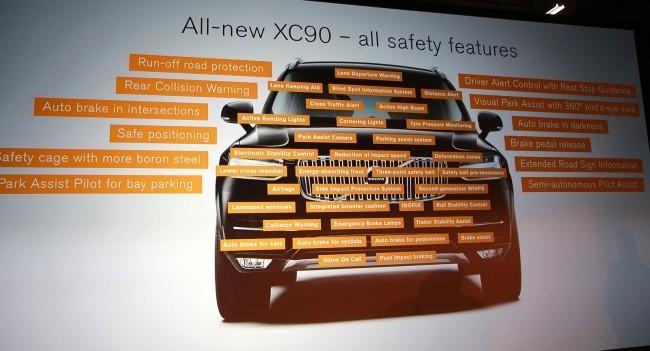 Визуализация списка систем безопасности нового XC90 впечатляет