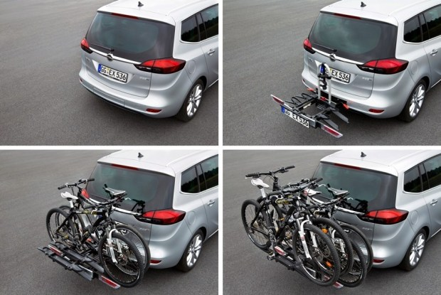 Марка Opel предлагает клиентам систему Flex Fix, которая тоже представляет собой выдвижную платформу. Она полностью убирается за задний бампер, а в разложенном состоянии может вмещать до четырех велосипедов. Крепеж был придуман более десяти лет назад.