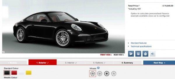 В интернете был замечен on-line конфигуратор для нового Порше 911