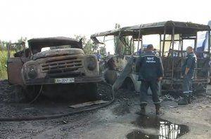 Автолюбитель автобуса заснул, налетел в грузовой автомобиль и сгорел в зале (Видео)