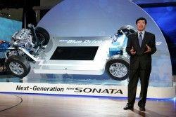 Автоконцерн Хендай продемонстрировал собственную свежую смешанную технологию Blue Drive Architecture на авто-шоу в Лос Анджелесе
