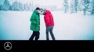 Внедорожник «Майбах» дрифтит по снегу в лесу
