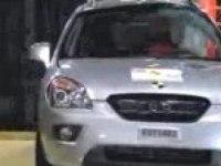 Краш-тест Kia Carens от EuroNCAP. Боковой удар о столб