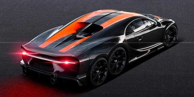 В Сети показали изображения шестиколёсного Bugatti Chiron SS