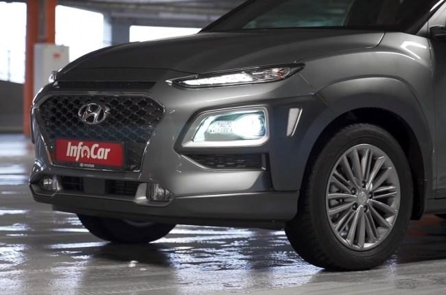 Hyundai Kona решётка радиатора и оптика