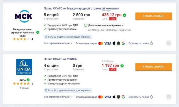 Стоимость ОСАГО для авто с объемом двигателя от 1,6 до 2 л и городом прописки Белгород-Днестровский — минимальная и максимальная цена