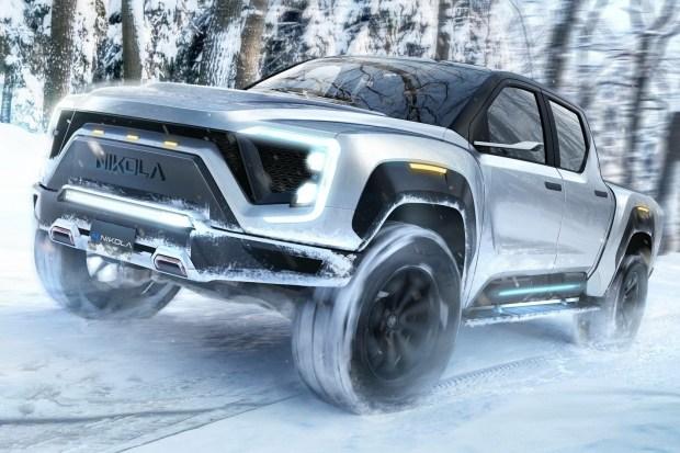 Пикап Nikola Badger, представленный в начале 2020 года. Утверждалось, что он оснащен гибридной силовой установкой на водороде  Nikola Motors